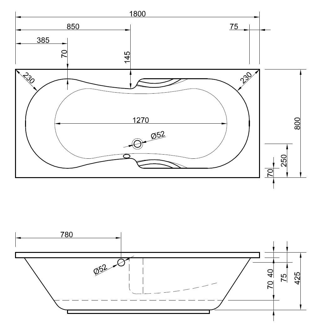 badewanne mit griffen 180 x 80 cm rechteckwanne f r zwei 2 personen. Black Bedroom Furniture Sets. Home Design Ideas