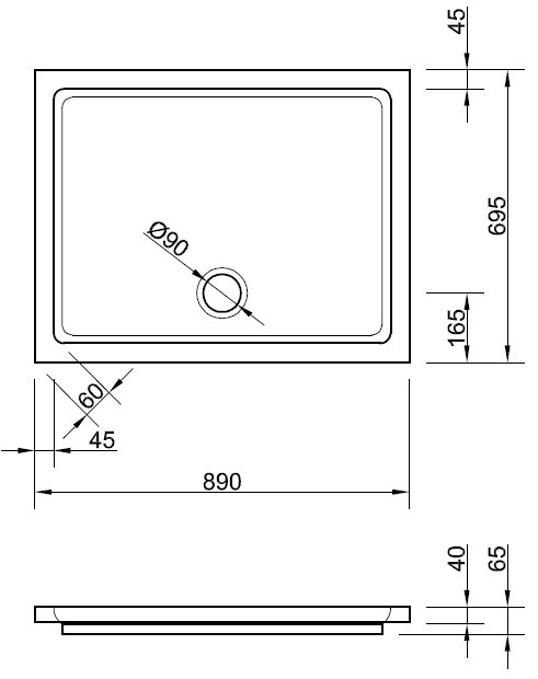 duschwanne 90 x 70 x 4 cm duschwanne duschtasse rechteck. Black Bedroom Furniture Sets. Home Design Ideas
