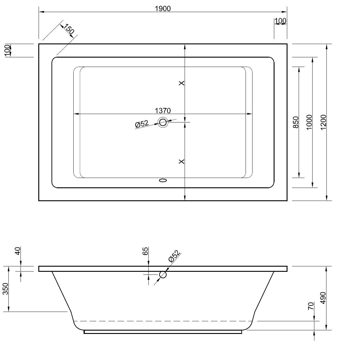 Hervorragend Badewanne 190 x 120 x 49 cm | Bad Heizung Design UD15