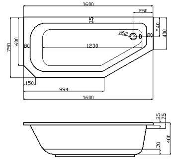 Raumsparwanne 160 x 75 cm asymmetrisch Trapez Badewanne Acryl | {Eckbadewanne maße 160 59}