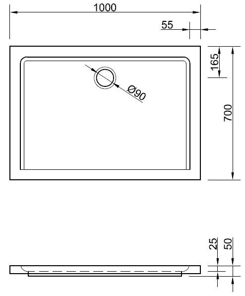 duschwanne superflach 100 x 70 x 2 5 cm duschwanne duschtasse rechteck rechteckduschwanne 100. Black Bedroom Furniture Sets. Home Design Ideas