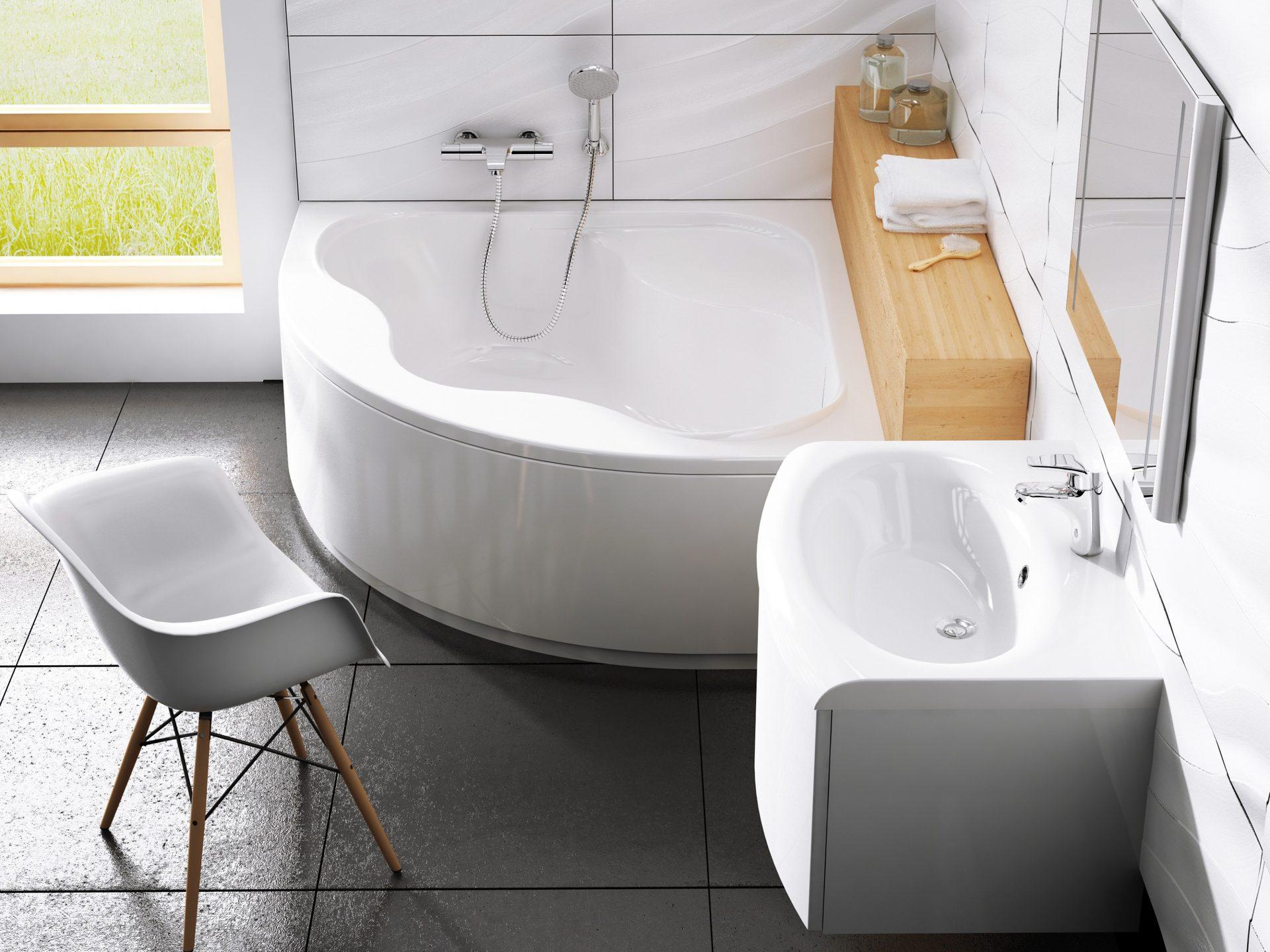 Eckbadewanne Schürze 150 x 150 cm weiß   Bad Design Heizung