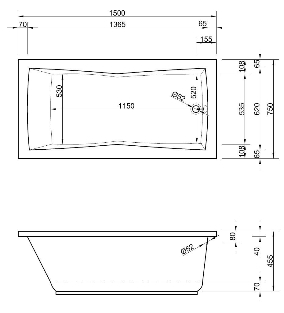 Rechteck Badewanne 150 x 75 x 46 cm | Bad Heizung Design