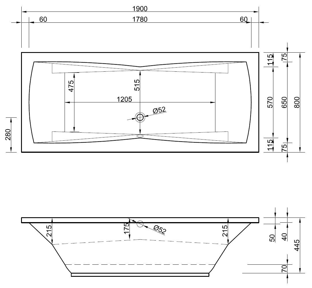 badewanne mit armlehnen 190 x 80 cm rechteckwanne ablauf mittig. Black Bedroom Furniture Sets. Home Design Ideas