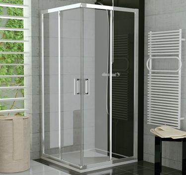 Duschkabine Eckeinstieg 90 x 90 x 190 cm Schiebetür