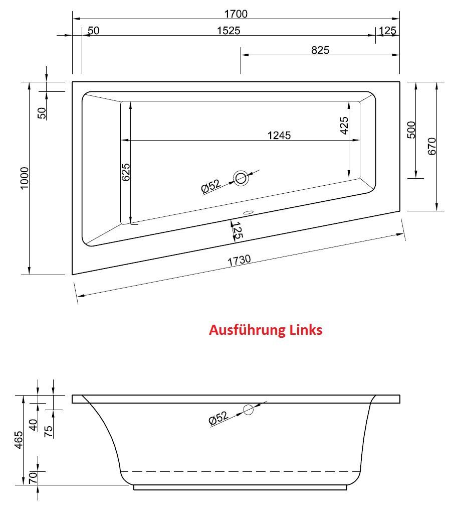 Raumsparwanne 170 x 100 cm asymmetrische eckbadewanne for Asymmetrische badewanne 170