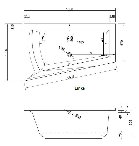 Eckbadewanne maße 160  Raumsparwanne 160 x 100 cm asymmetrisch Trapez Badewanne Acryl