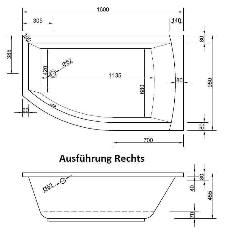 Badewanne asymmetrisch 160 x 95 x 45,5 cm   Bad Heizung Design