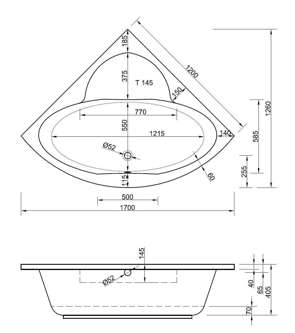 Bekannt Eckwanne 120 x 120 x 40,5 cm | Bad Heizung Design DK66
