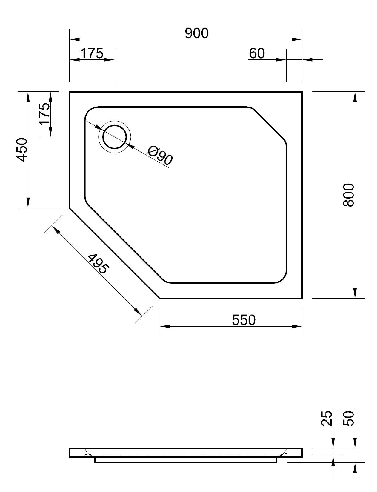 duschwanne f nfeck 90 x 80 x 2 5 cm duschwanne duschtasse. Black Bedroom Furniture Sets. Home Design Ideas