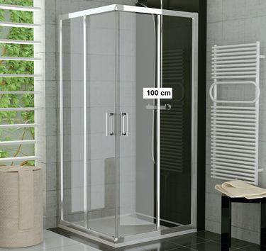 Duschkabine Eckeinstieg 100 x 80 x 190 cm Schiebetür
