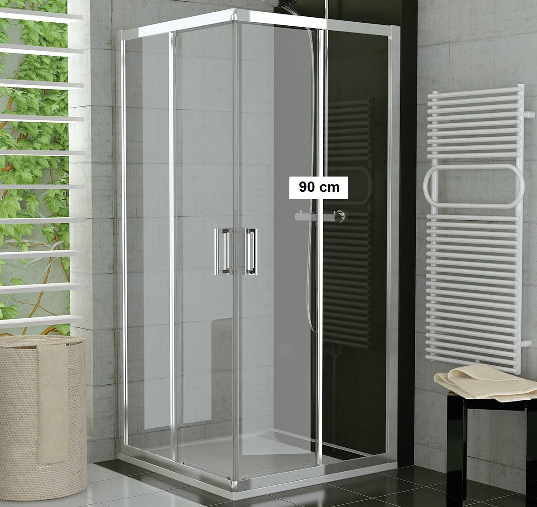 Duschkabine Eckeinstieg 90 x 80 x 190 cm Schiebetür