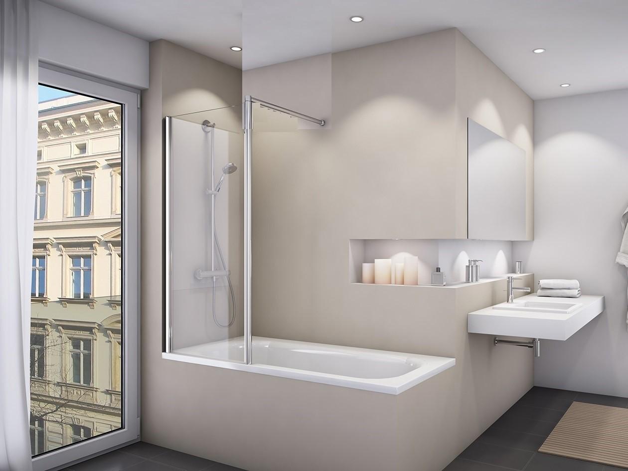 duschwand badewanne 80 x 150 cm badewannentrennwand feststehend. Black Bedroom Furniture Sets. Home Design Ideas