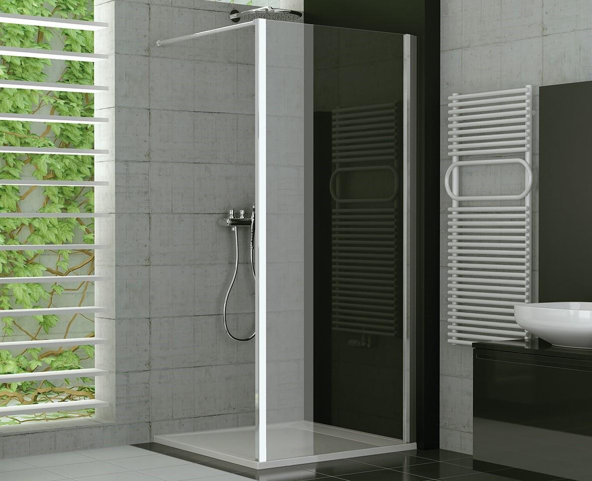 Duschtrennwand Glas feststehend 120 x 190 cm | Bad Heizung Design