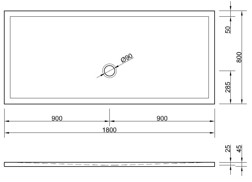 duschwanne bodengleich 180 x 80 cm ablauf vorn mittig. Black Bedroom Furniture Sets. Home Design Ideas