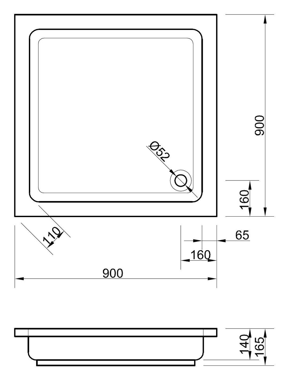 Duschwanne maße  tiefe Duschtasse 90 x 90 x 14 cm Duschwanne Duschtasse Quadrat ...