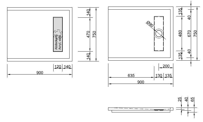 bodengleiche duschtasse mit rinnenablauf 90x75 cm. Black Bedroom Furniture Sets. Home Design Ideas