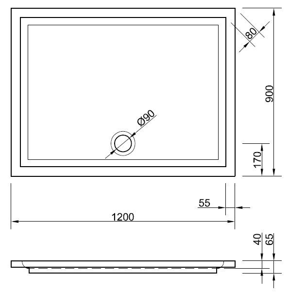 duschwanne 120 x 90 x 4 cm duschwanne duschtasse rechteck rechteckduschwanne 120 duschwanne. Black Bedroom Furniture Sets. Home Design Ideas