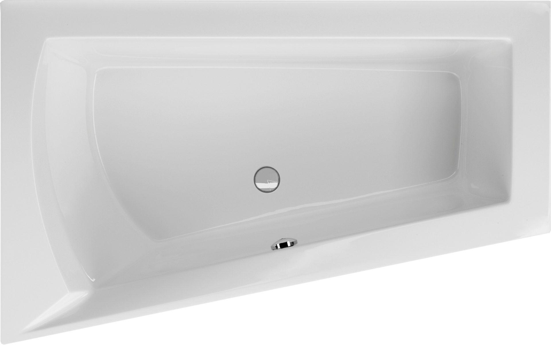 Raumsparbadewanne 170 x 100 cm trapez badewanne ablauf mittig for Asymmetrische badewanne 170