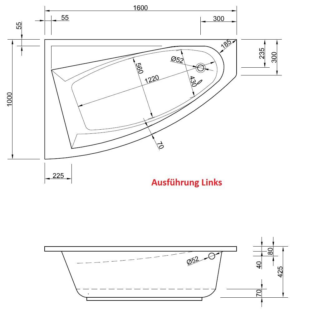 Raumsparbadewanne 160 x 100 maße · asymmetrische eckwanne 160x100 schürze
