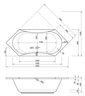 Sechseck badewanne maße  Badewanne Sechseck 190 x 80 x 44 Badewanne Badewanne Sechseckwanne