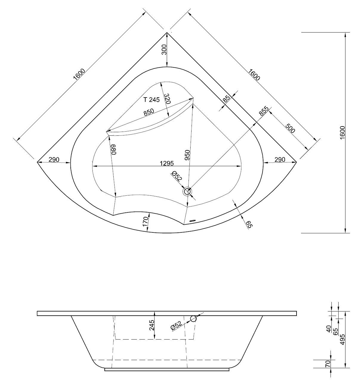 Eckbadewanne 160 x 160 cm | große hohe Eckwanne 1600 | {Eckbadewanne maße 28}