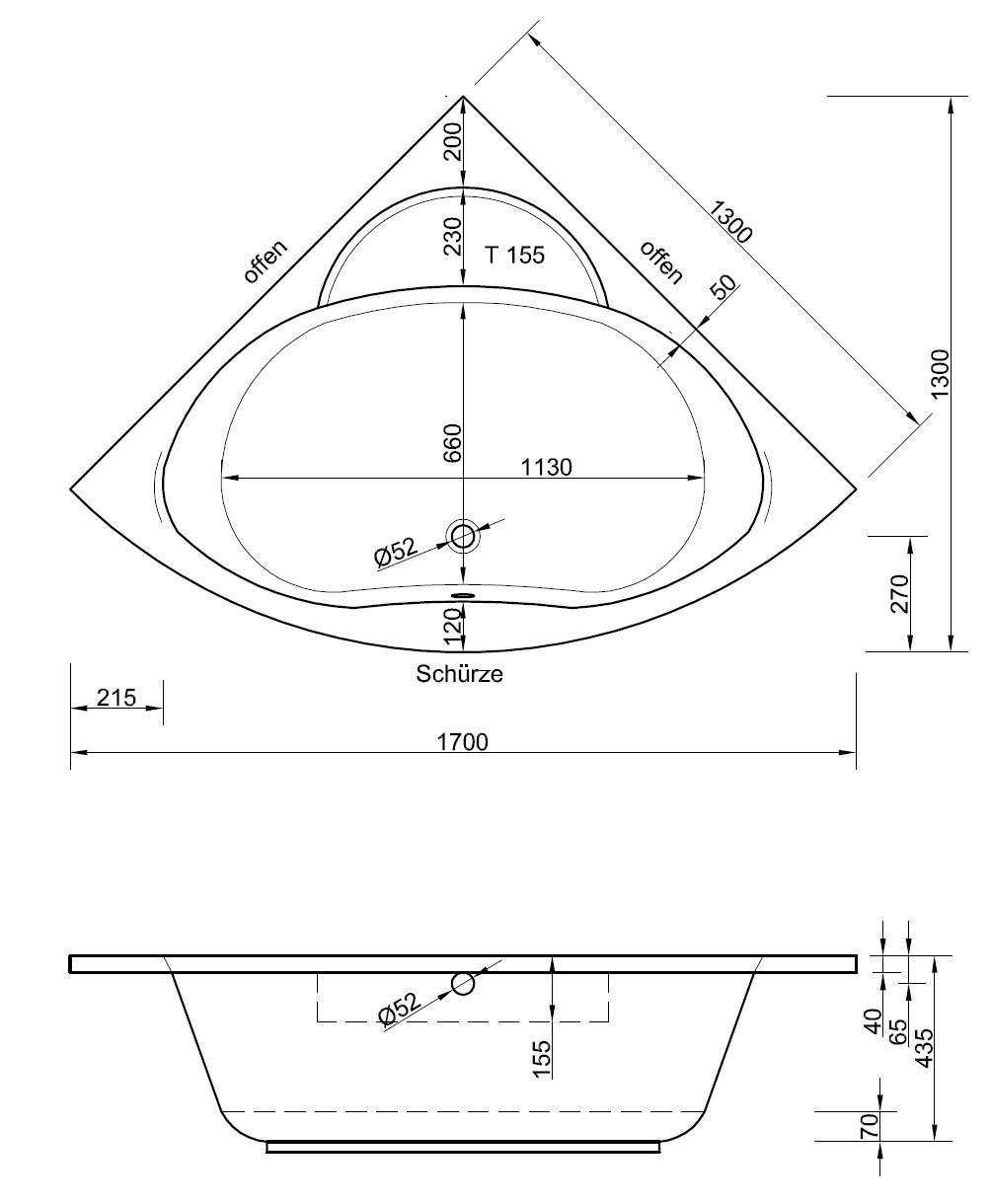 Gut gemocht Eckwanne 130 x 130 x 43,5 cm | Bad Heizung Design QL12
