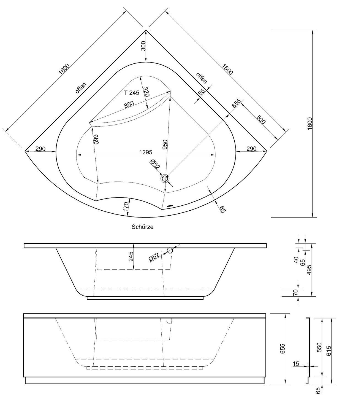 Top Eckbadewanne mit Schürze 160 x 160 cm | Bad Heizung Design XY48