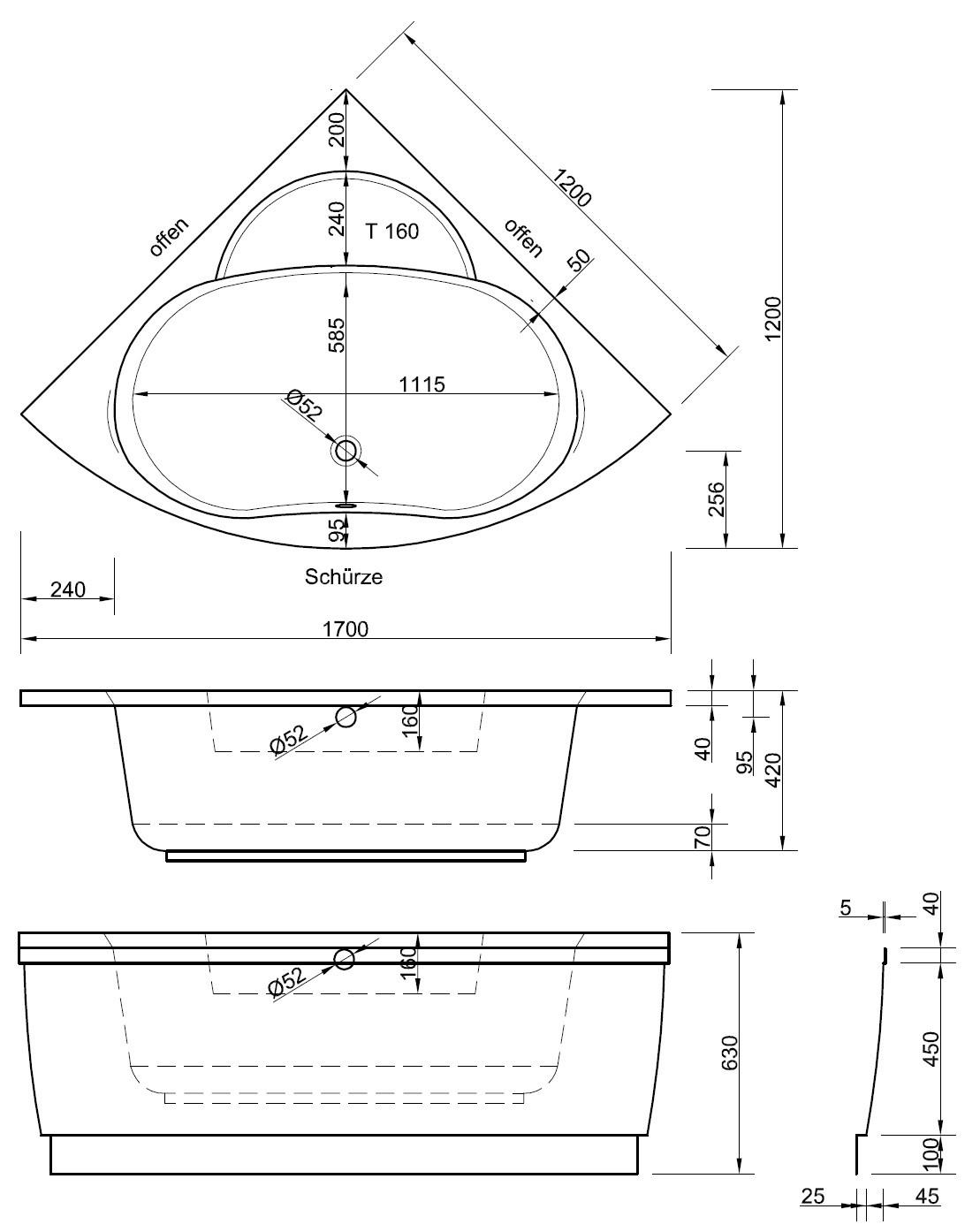 Eckbadewanne maße 120  Eckwanne mit Schürze 120 x 120 cm Badewanne Badewanne Eckwanne ...