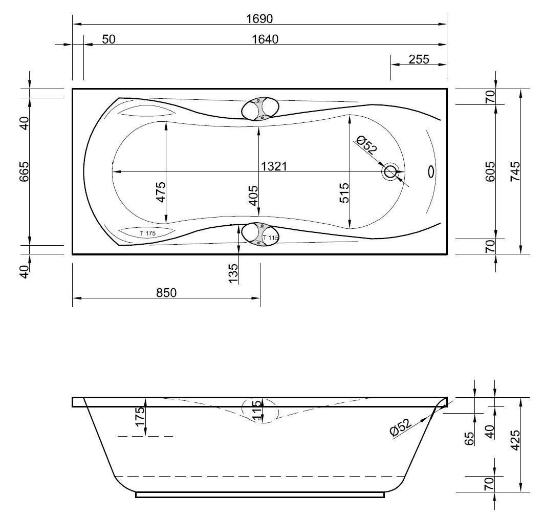 Badewanne mit griffen 170 x 75 cm k rperformwanne armlehnen for Asymmetrische badewanne 170