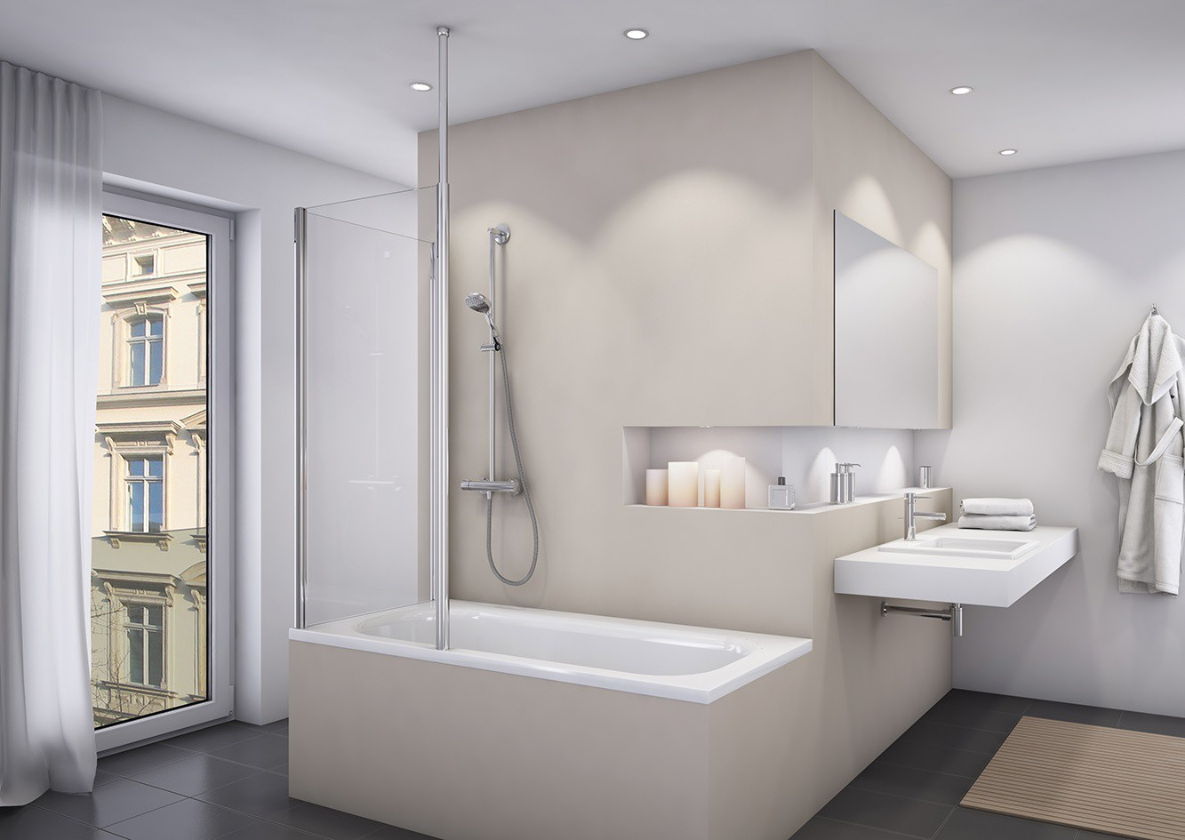 Badewannenaufsatz mit seitenwand duschwand feststehend 1 for Bad design heizung