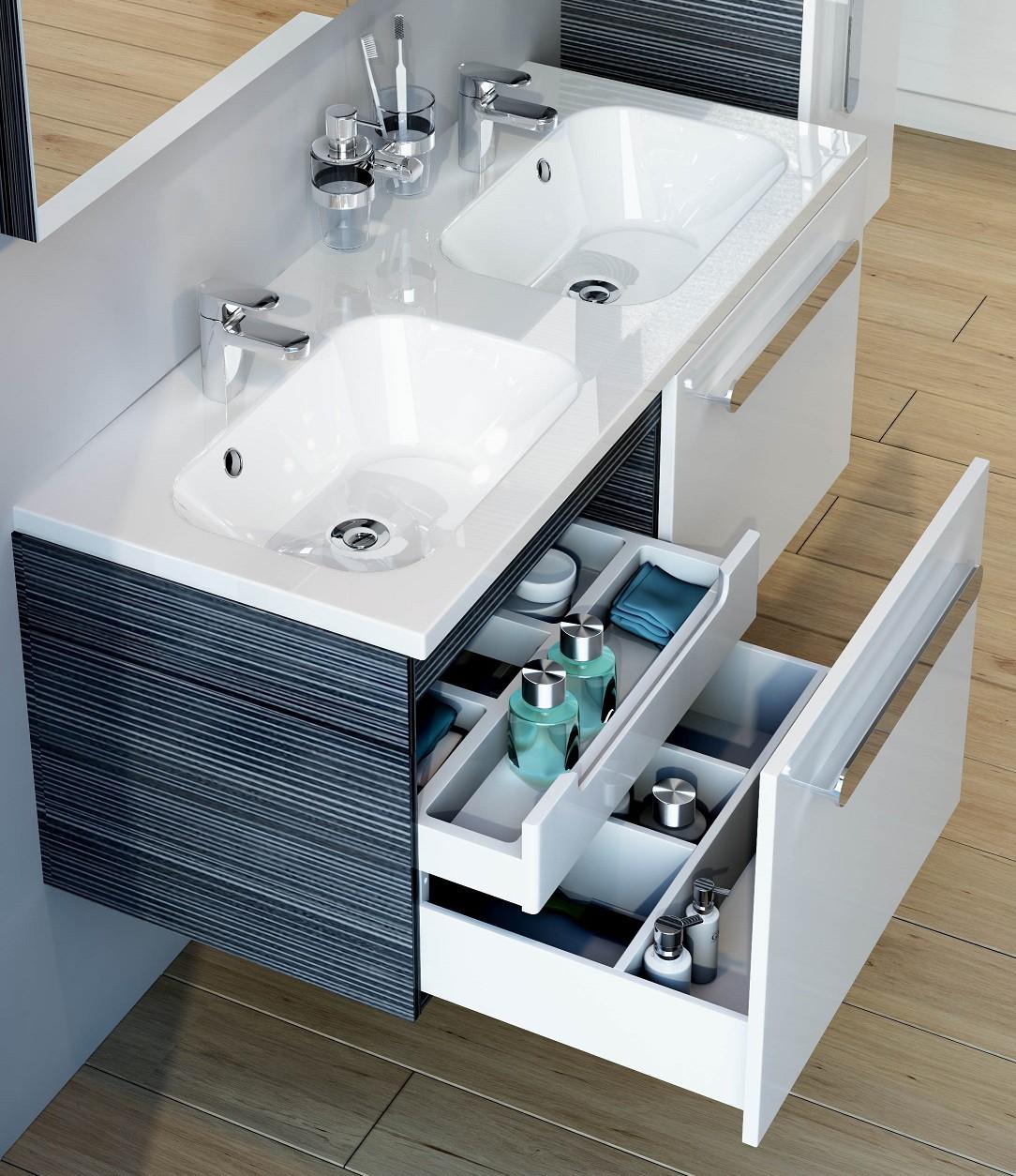 Bad Waschbecken Unterschrank 54 x 63 x 30 cm 1 Tür, 3 Schubladen, weiß