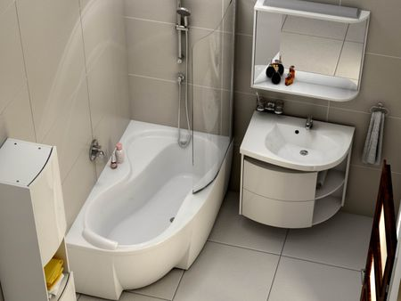 asymmetrische Badewanne Schürze 160 x 95 x 43 cm