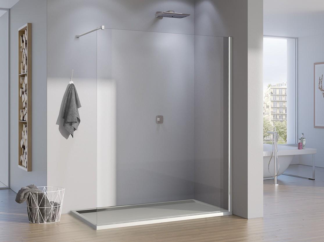 freistehende duschwand glas 130 x 200 cm feststehend ebenerdig. Black Bedroom Furniture Sets. Home Design Ideas