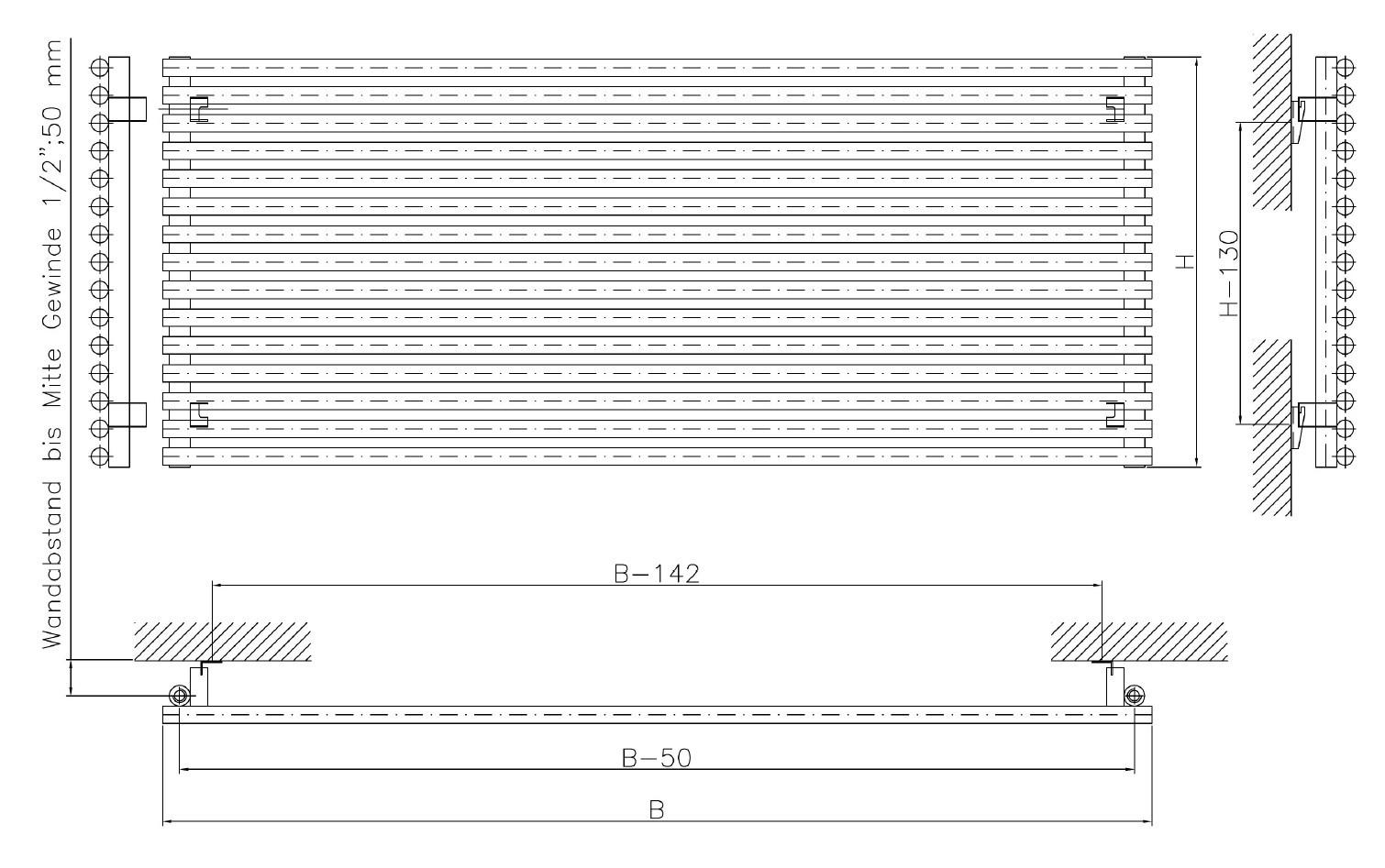waagerechte r hrenheizk rper 40 x ab 50 cm ab 250 watt. Black Bedroom Furniture Sets. Home Design Ideas