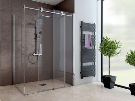 Dusche mit Seitenwand Schiebetür 2-teilig 220 cm hoch