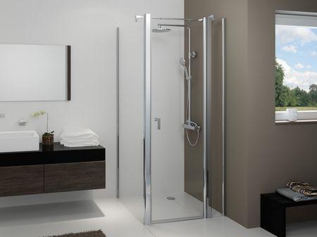 Dusche mit Seitenwand Drehtür 2-teilig 220 cm hoch