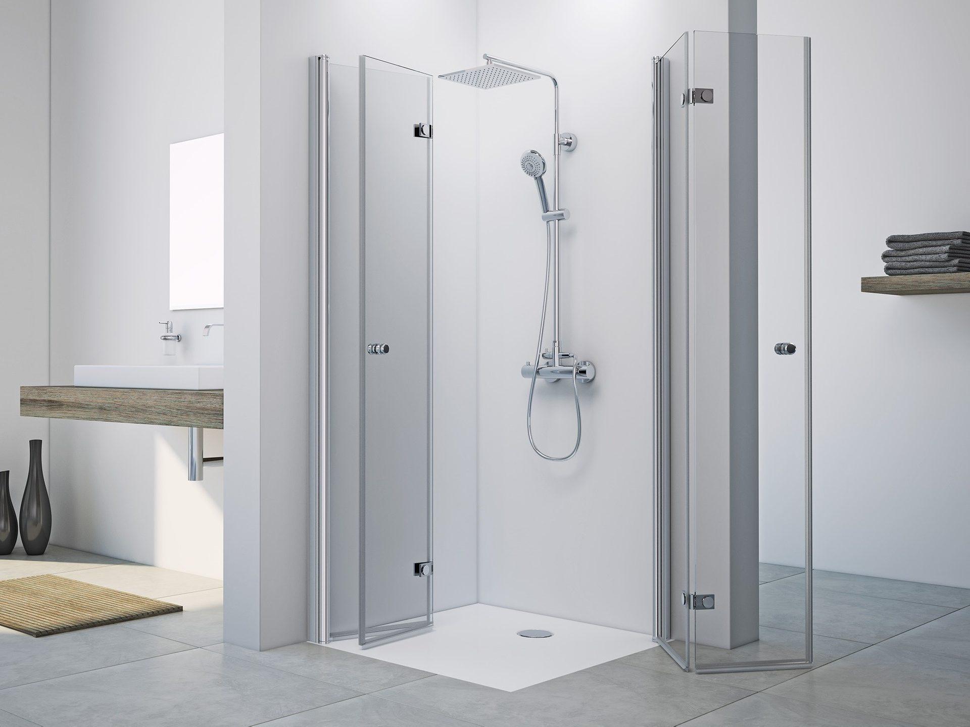dusche drehfalttuer eckeinstieg      cm bad