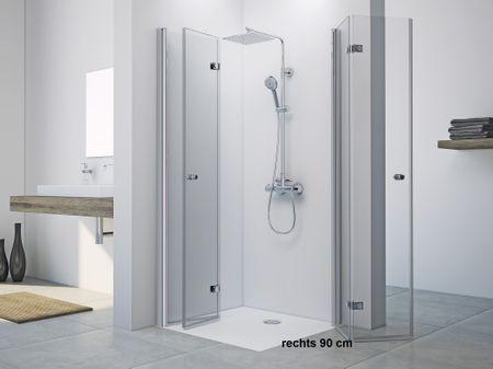Dusche Drehfalttür Eckeinstieg 90 x 80 x 220 cm