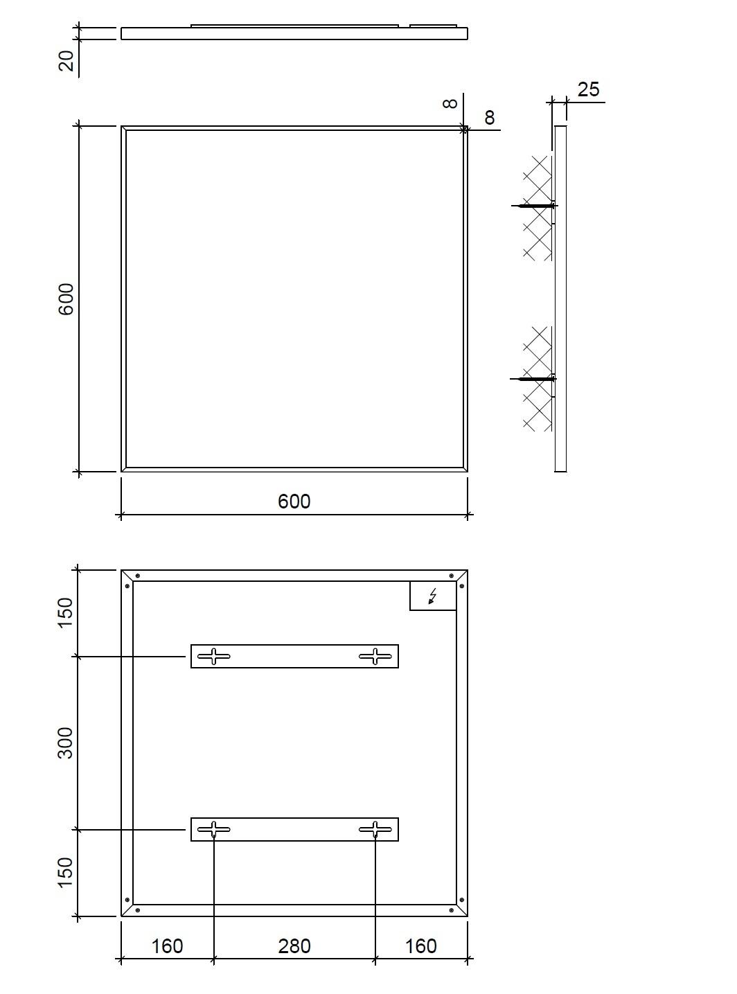 infrarot heizk rper 60 x 60 cm infrarotheizung 400 watt aluminium. Black Bedroom Furniture Sets. Home Design Ideas