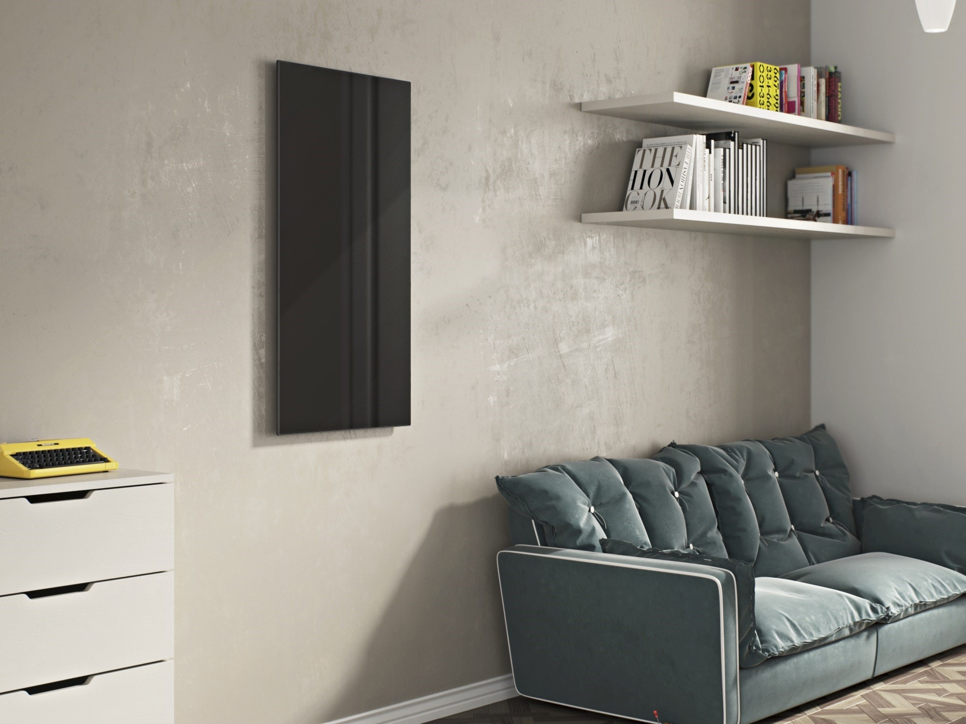 infrarotheizung glas 60 x 90 cm 600 watt schwarz rahmenlos. Black Bedroom Furniture Sets. Home Design Ideas