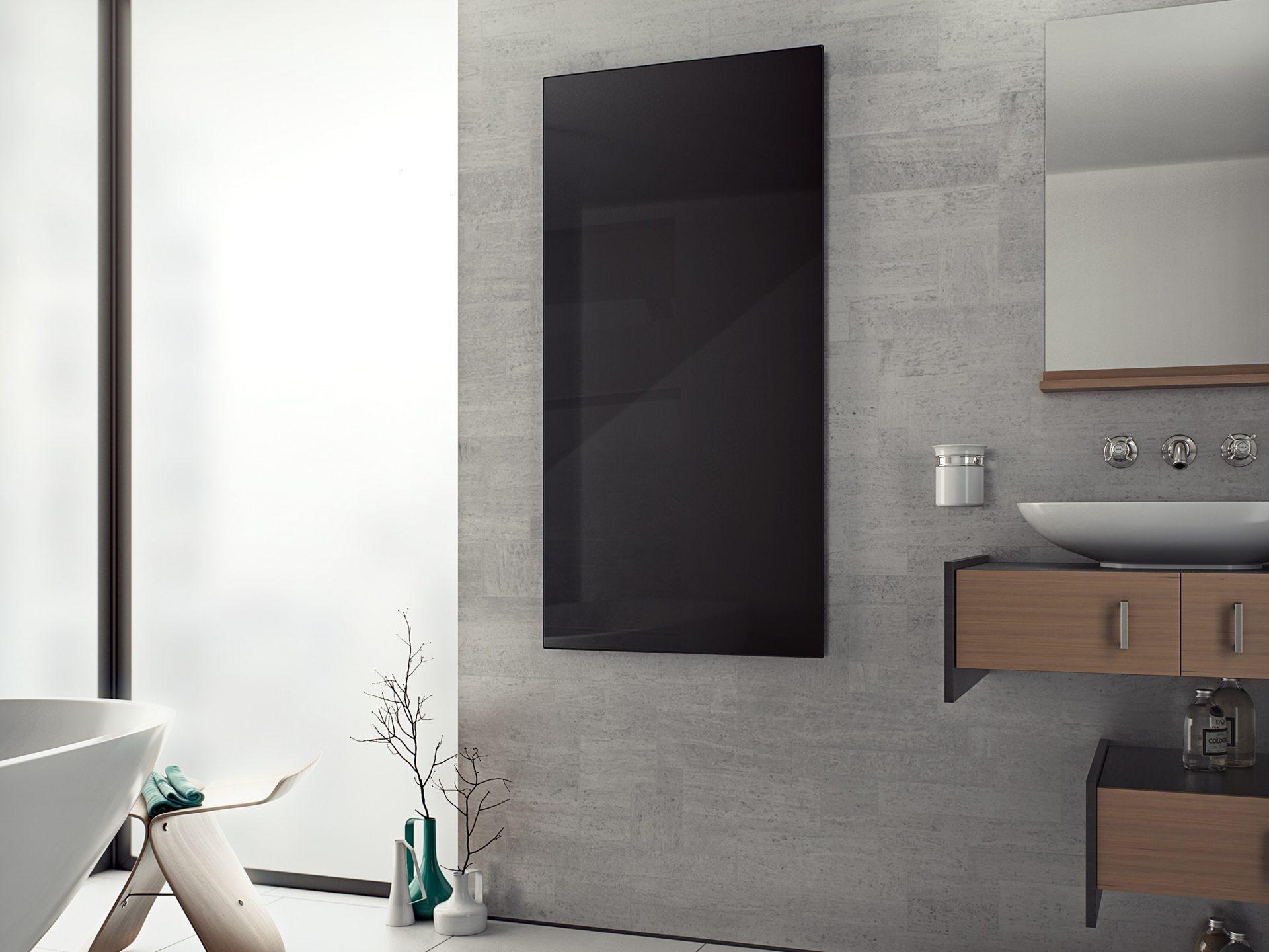 Infrarotheizung Glas 20 x 20 cm 20 Watt schwarz   Bad Design Heizung
