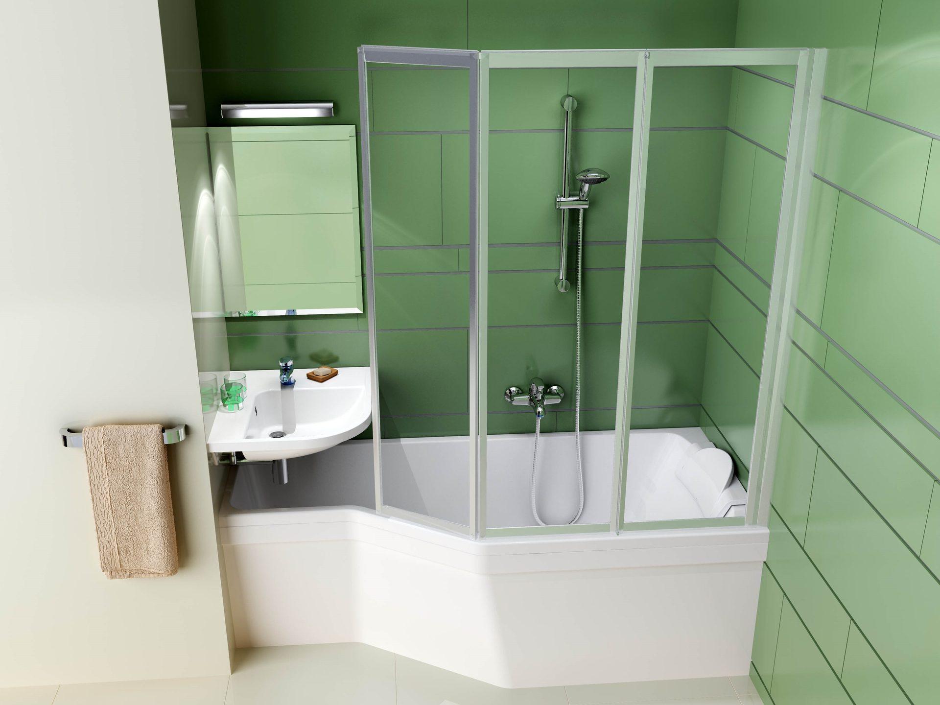 Raumsparwanne mit Duschbereich 160 x 75 x 44 cm