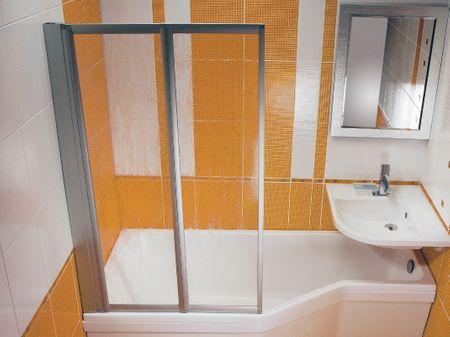 Raumsparwanne mit Duschbereich 150 x 75 x 44 cm