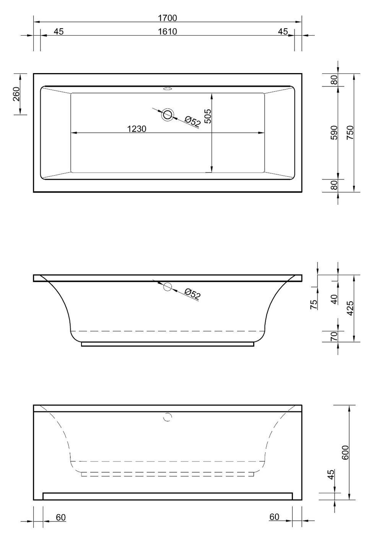 Badewanne Höhe.Badewanne Mit Wannenschürze 170 X 75 Cm