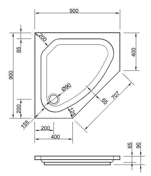 f nfeck duschwanne 90 x 90 x 6 5 cm wei duschwanne. Black Bedroom Furniture Sets. Home Design Ideas