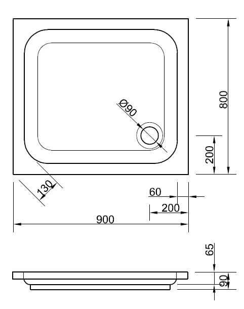 duschtasse 90 x 80 x 6 5 cm duschwanne duschtasse rechteck. Black Bedroom Furniture Sets. Home Design Ideas