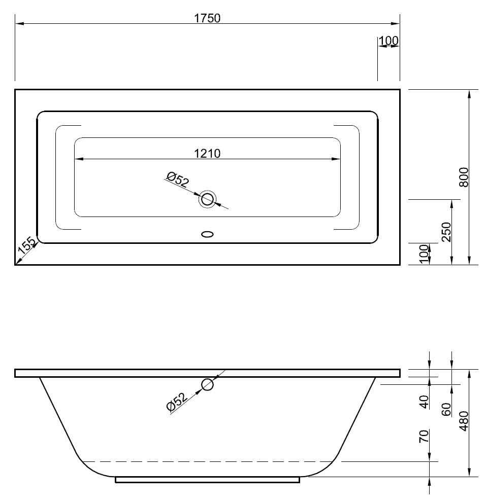 Beliebt Badewanne 175 x 80 x 48 cm | Bad Heizung Design JV54