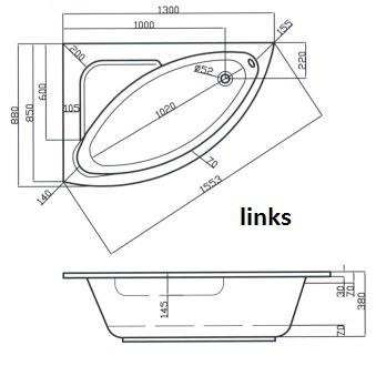 raumsparwanne 130 x 88 cm asymmetrische eckbadewanne wannentr ger. Black Bedroom Furniture Sets. Home Design Ideas