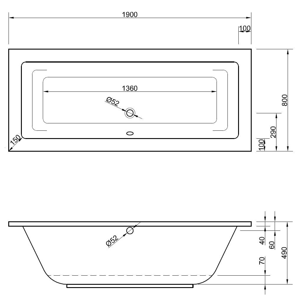 badewanne 190 x 80 cm rechteckwanne mit ablaufgarnitur mittig. Black Bedroom Furniture Sets. Home Design Ideas